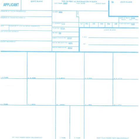 Fbi Fingerprint Background Check Fbi Fd 258 Fingerprint Card Cal Live Scan