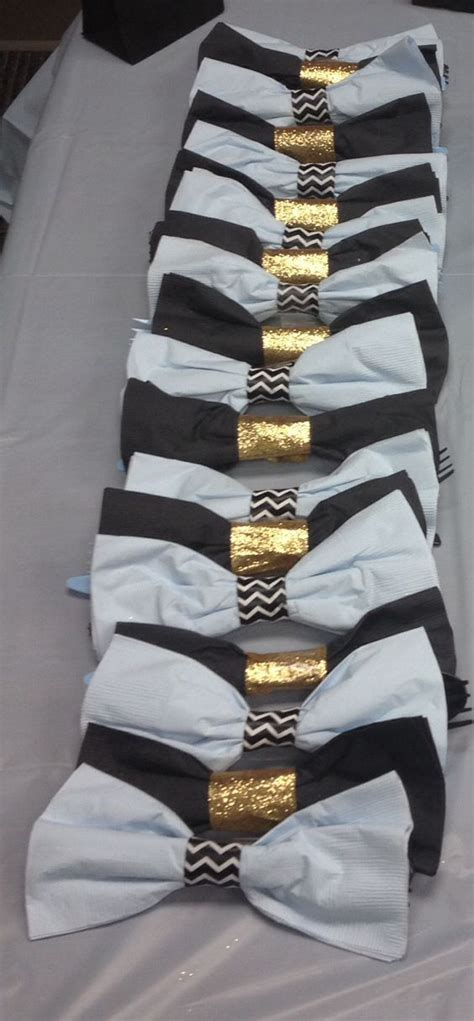 lil man bow tie baby shower blue black  gold bow tie