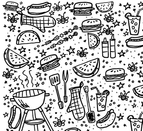 Barbeque Kleurplaten by Summer Bbq Coloring Pages Bouchet Coloring Mewarnai Site