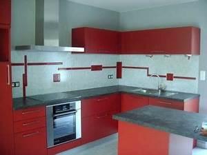 cuisine rouge blanc With idee deco cuisine avec cuisine rouge et blanc