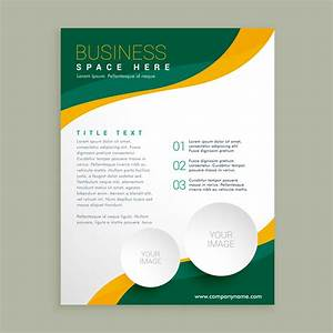 Green And Yellow Wavy Shape Business Brochure Flyer Layout