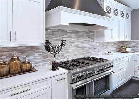 Kitchen Backsplashes With White Cabinets by White Modern Subway Marble Mosaic Contemporary Design