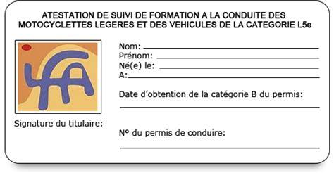 attestation permis de conduire stage moto scooter 125