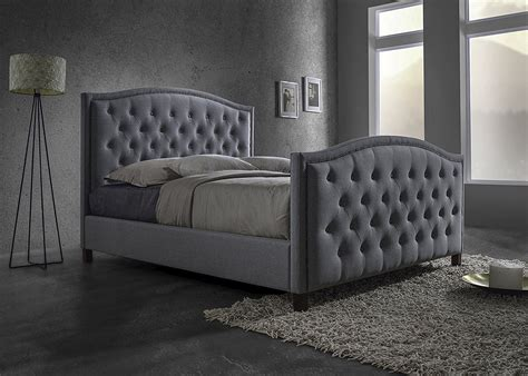 gray tufted bed button tufted headboard baxton studio whalen grey