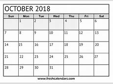Blank October 2018 Calendar Printable Templates
