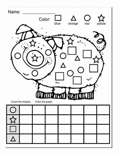 Shapes Shape Worksheets Worksheet Coloring Count Kindergarten