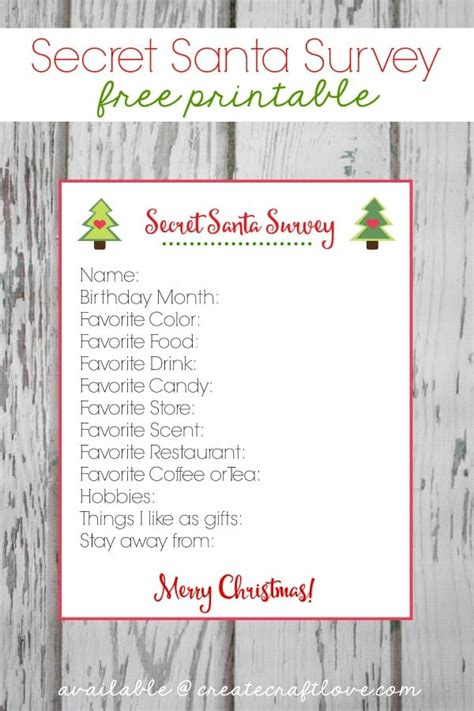christmas exchange questionnaire secret santa survey printable