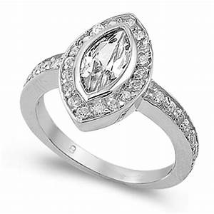 Marquise Halo Ring New 925 Sterling Silver Wedding