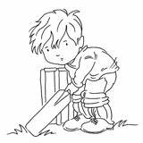 Cricket Coloring Boys Colouring Stamp Boy Stamps Digi Sports Liliofthevalley sketch template
