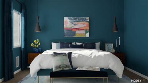 monochromatic blue tone bedroom modern style bedroom
