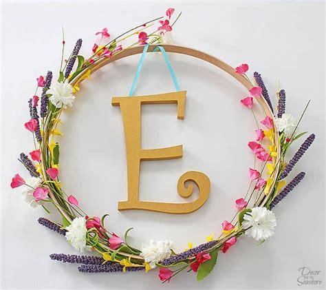 diy monogram embroidery hoop wreath decor   seashore