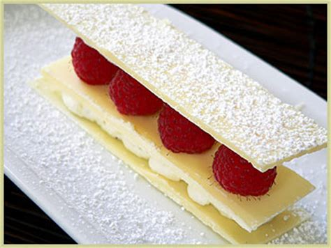 white chocolate millefeuille chocolate chantilly and raspberries millefeuille au chocolat