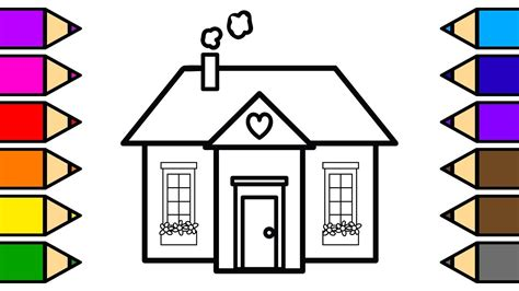 colouring house   hills coloring pages  children