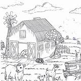 Coloring Country Printable Barn Cow Goats sketch template