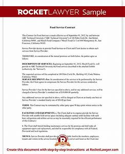 food service contract template with sample With facilities management contract template