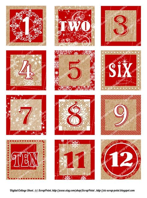 printable december daily numbers red