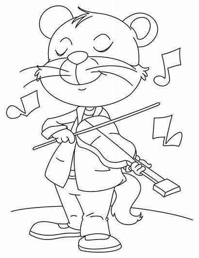 Coloring Cat Violin Playing Crazy Pages Fiddle