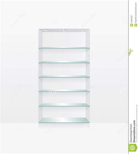 scaffali in vetro scaffali di vetro vuoti sulla parete illustrazione