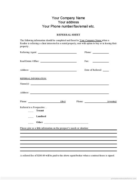 printable real estate referral form template