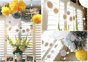 wedding shower decorations yellow and grey bridal shower hello brielle