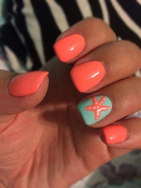 starfish nails summer nails orange color nails
