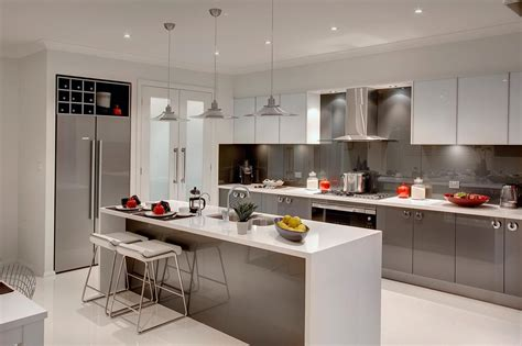 Grey Cupboards Kitchen by Grey Cupboards White Oak Floors White Benchtops