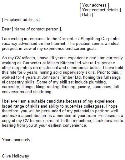 Sle Cover Letter For Carpenter by Carpenter Cover Letter Sle