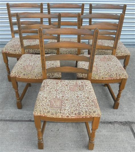 set of six charm oak dining chairs with upholstered