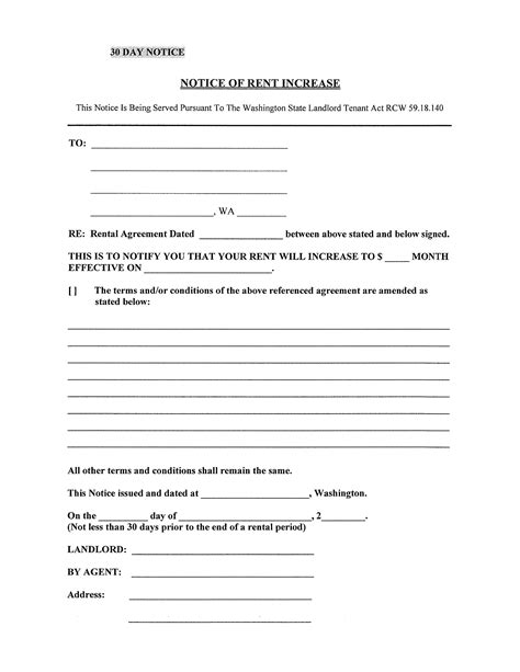 30 day notice of rent increase form notice of rent increase washington state free download