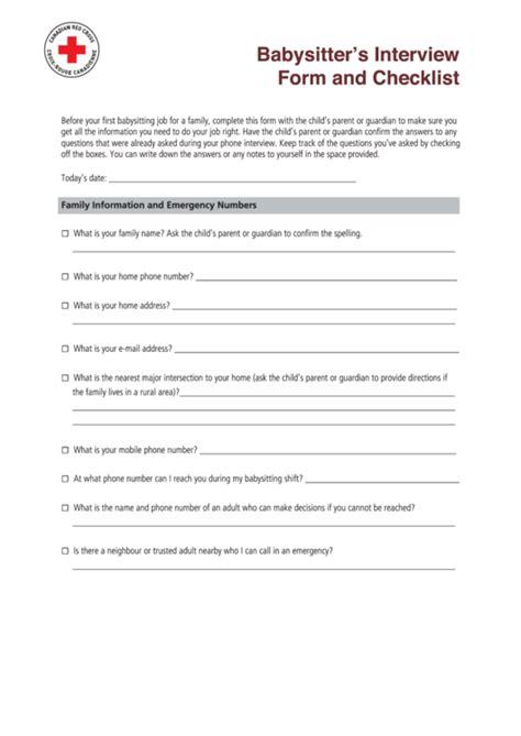 babysitters interview form  checklist printable