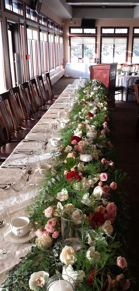 wedding reception head table flowers dahlia floral