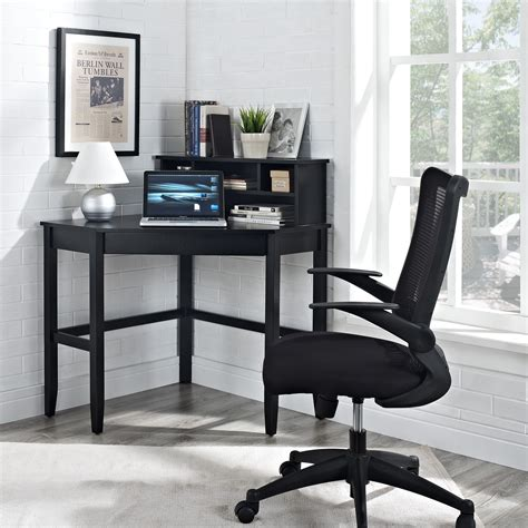 Black Corner Computer Desk With Hutch by Corner Laptop Writing Desk With Optional Hutch Black