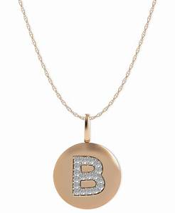 macy39s us 14k rose gold necklace diamond accent letter b With letter disc necklace
