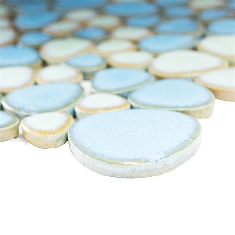 mosaikfliese kiesel xkm     cm hellblauhellgruen glaenzend  keramikmosaik