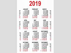 Calendar 2019 Grid Template Stock Vector Illustration of