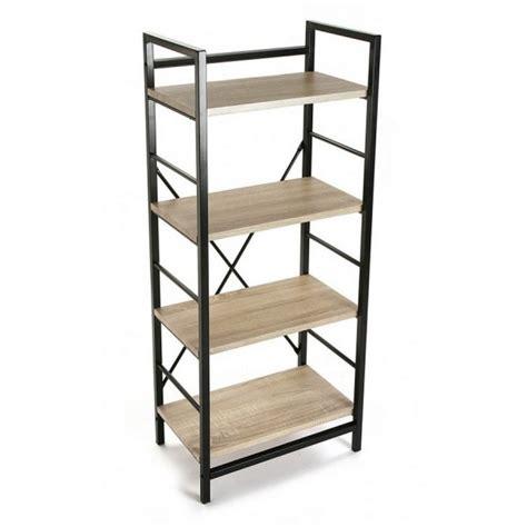 Metal Etageres - etagere metal noir bois 4 niveaux versa 20880011