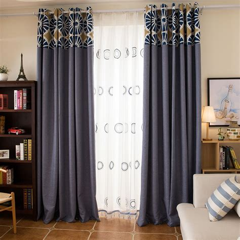 Patterned Curtains And Drapes - blue patterned jacquard linen cotton blend contemporary