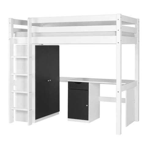lit bureau armoire combiné set wood lit mezzanine armoire bureau blanc achat
