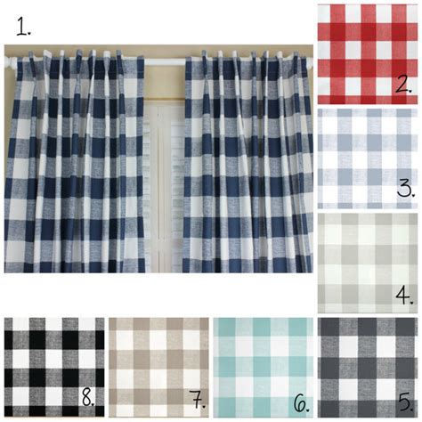 buffalo plaid curtain panel set plaid curtains navy blue