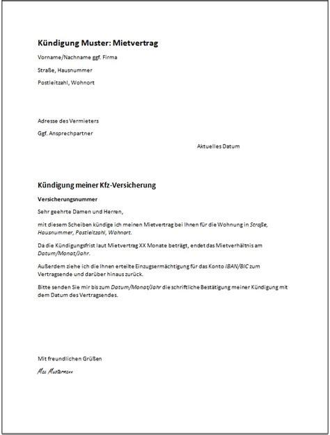 kündigung mietvertrag musterbrief das muster einer k 252 ndigung kostenlose vorlagen ratgeber