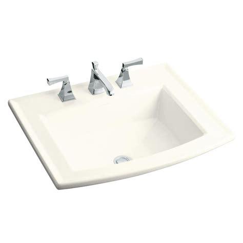 drop in bathroom sink without faucet holes shop kohler archer biscuit drop in rectangular bathroom