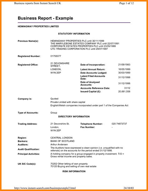 Report Resume by 6 Format Of Business Report With Exle Buyer Resume