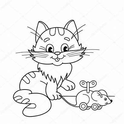 Cat Mouse Coloring Cartoon Outline Toy Pages
