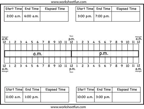 Calculate Elapsed Time  Ten Worksheets  Free Printable Worksheets Worksheetfun