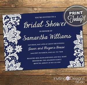lace bridal shower invitation wedding shower invitation With free printable navy blue wedding invitations