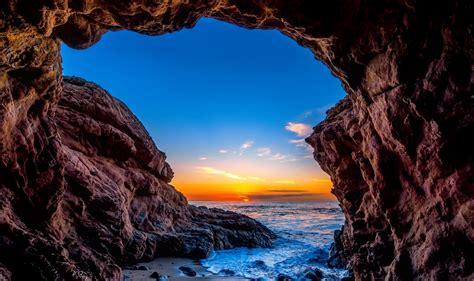 Ocean View from Inside Beach Cave HD Wallpaper ...