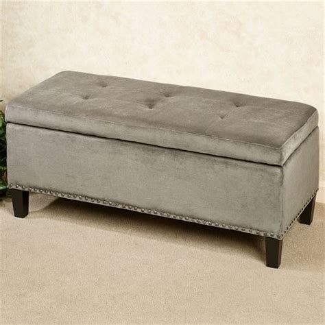 gray storage bench view silver gray upholstered storage bench