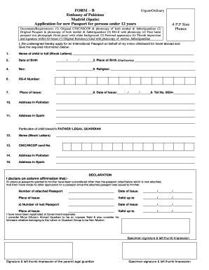passport form pakistan embassy madrid fill