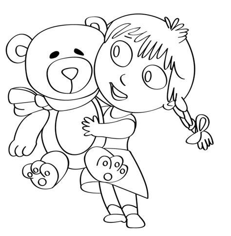 disegni bambina da stare e colorare disegno per bambini da colorare gratis bambina orsetto