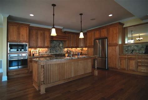 Stained Beadboard Kitchen Cabinet   Wood Kitchen Cabinets